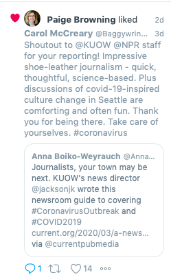 Shout out to KUOW radio journalists